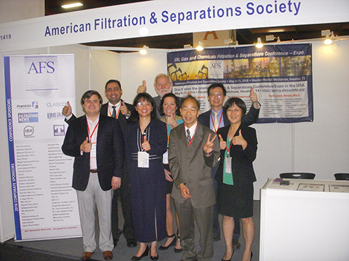 After the announcement was made by the INDEFI Board AFS Members joined together to celebrate in the AFS booth. From left to right: Chris Wallace, Rahul Bharadwaj, Christine Sun, Klaas De Waal, Lyn Scholl, Wallace Leung, Wu Chen and Wenping Li.