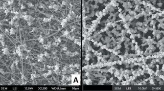 Brine (NaCl) aerosols captured on (A) as-spun and (B) polarized PVDF filter media