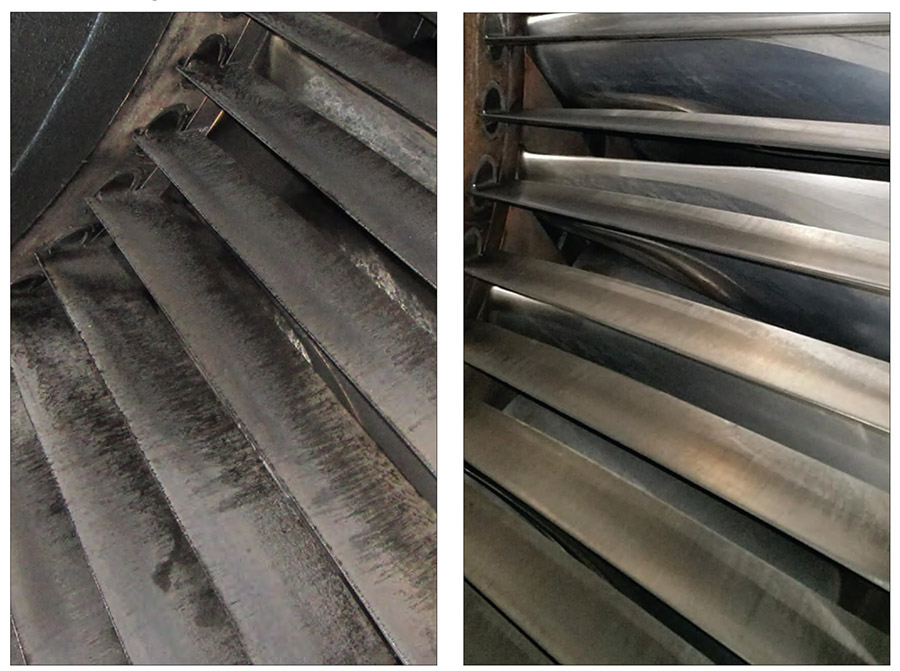 Figure 2: Evidence of significant fouling and signs of corrosion with the use of traditional filters (left) are an indication of imminent decreased compressor performance. By contrast, filters with proper hydrophobic and advanced coating properties helped maintain a clean compressor (right) that keeps the gas turbine operating at a high level.
