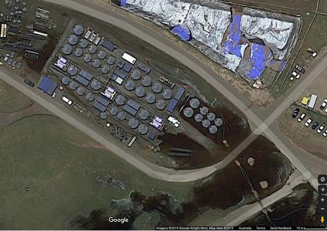 Aerial shot of a conventional PFAS remediation at a fire training facility.