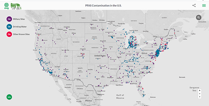 Map showing PFAS contamination in the USA