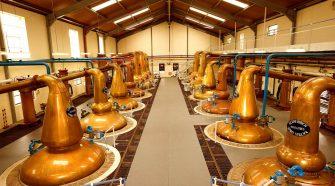 Copper stills at Glennfiddich in Dufftown.